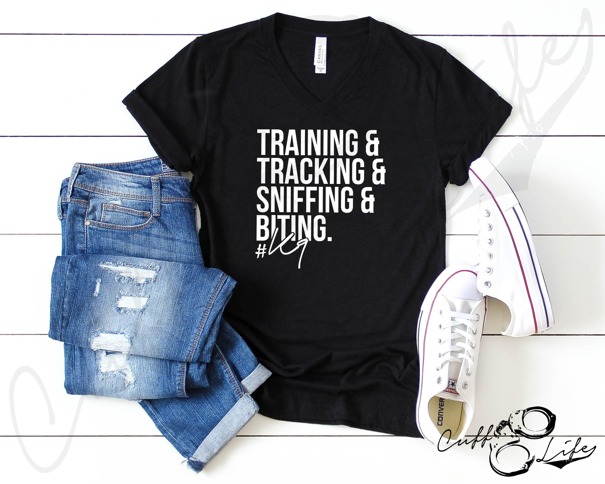 Training Tracking Sniffing & Biting K9 © - Boyfriend Fit V-Neck Tee