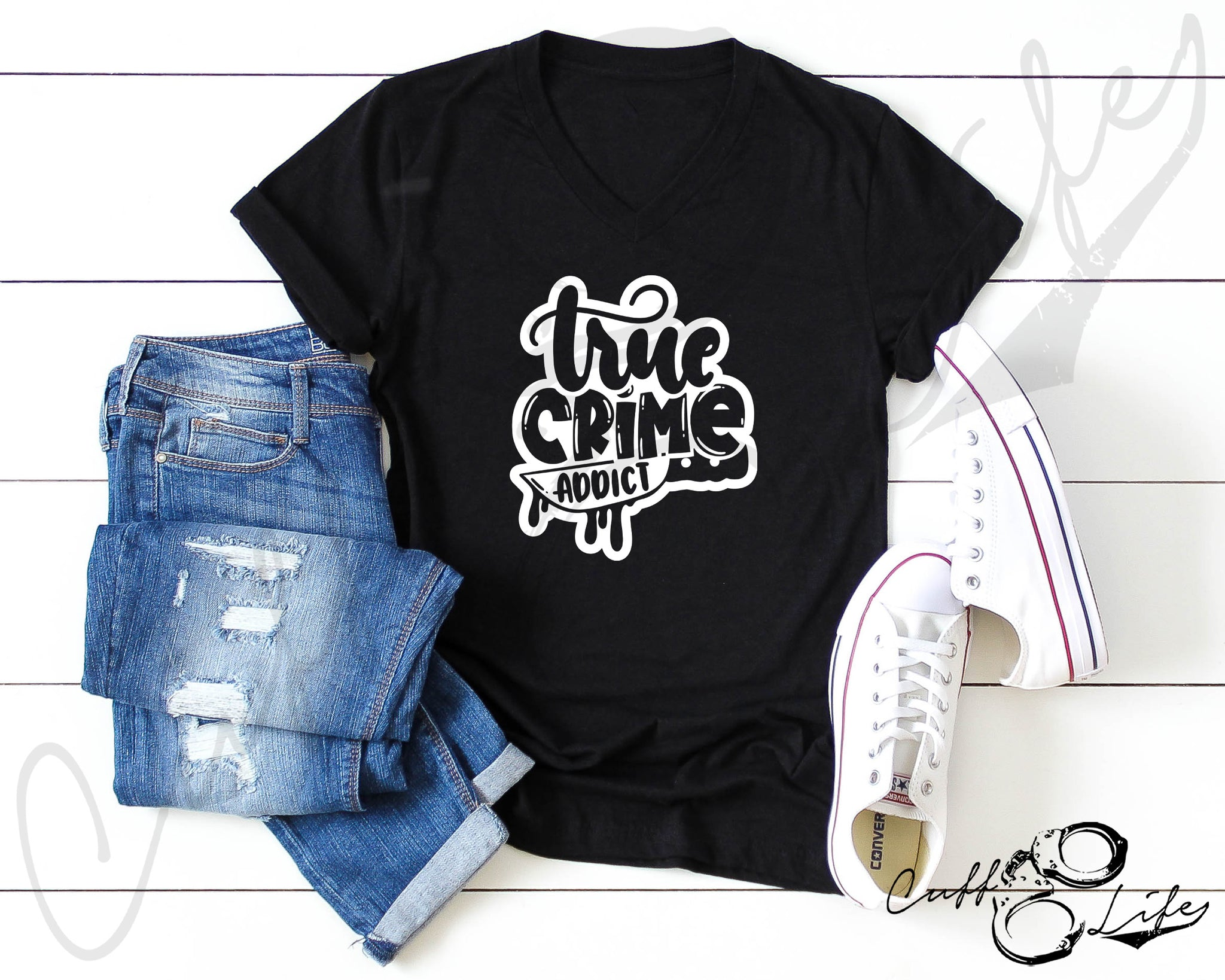 True Crime Addict - Boyfriend Fit V-Neck Tee