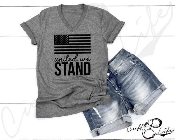 United We Stand (flag) - Boyfriend Fit V-Neck Tee