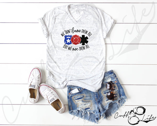 We Don't Know Them All But We Owe Them All - Boyfriend Fit V-Neck Tee