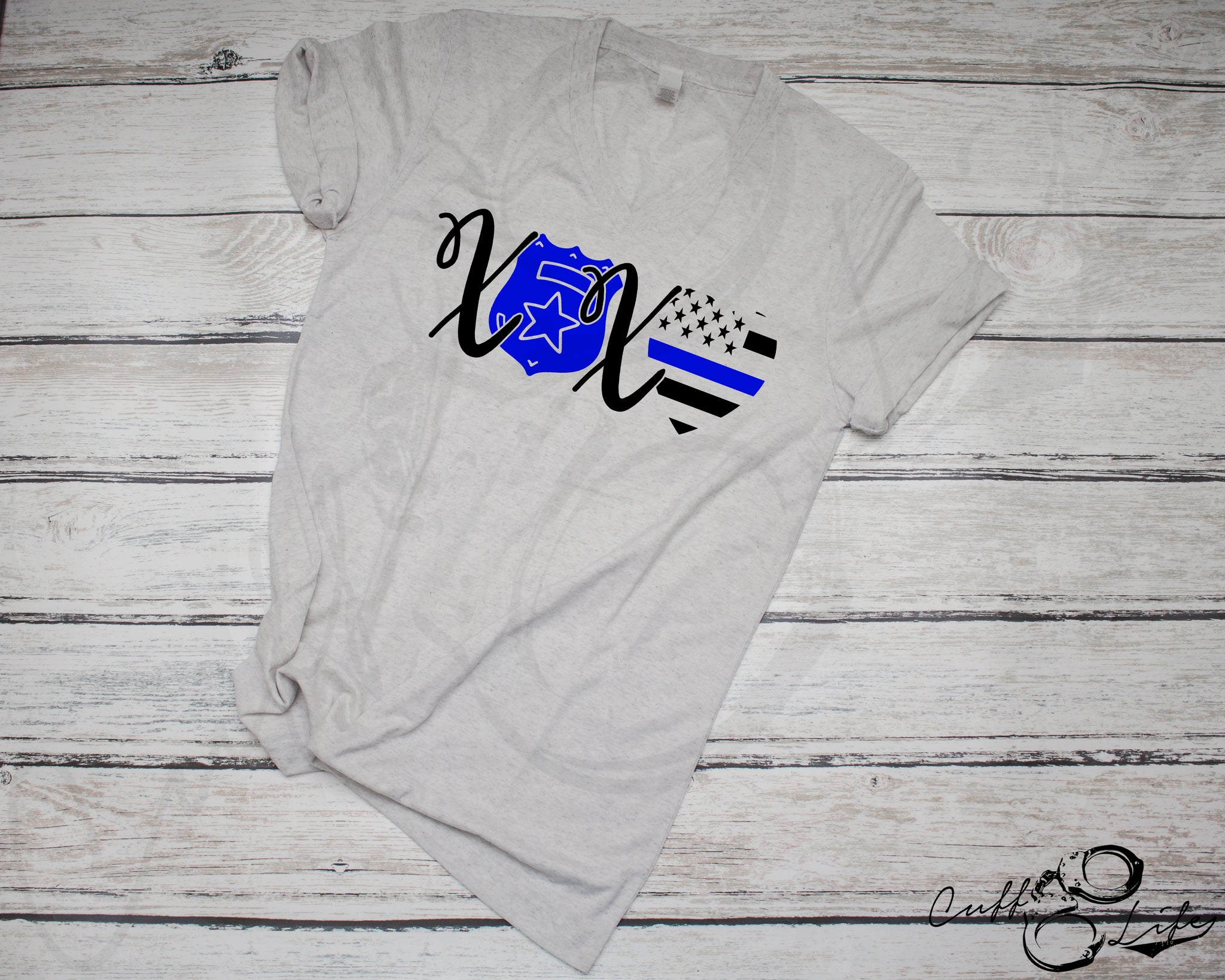 XOXO Police - Boyfriend Fit V-Neck Tee