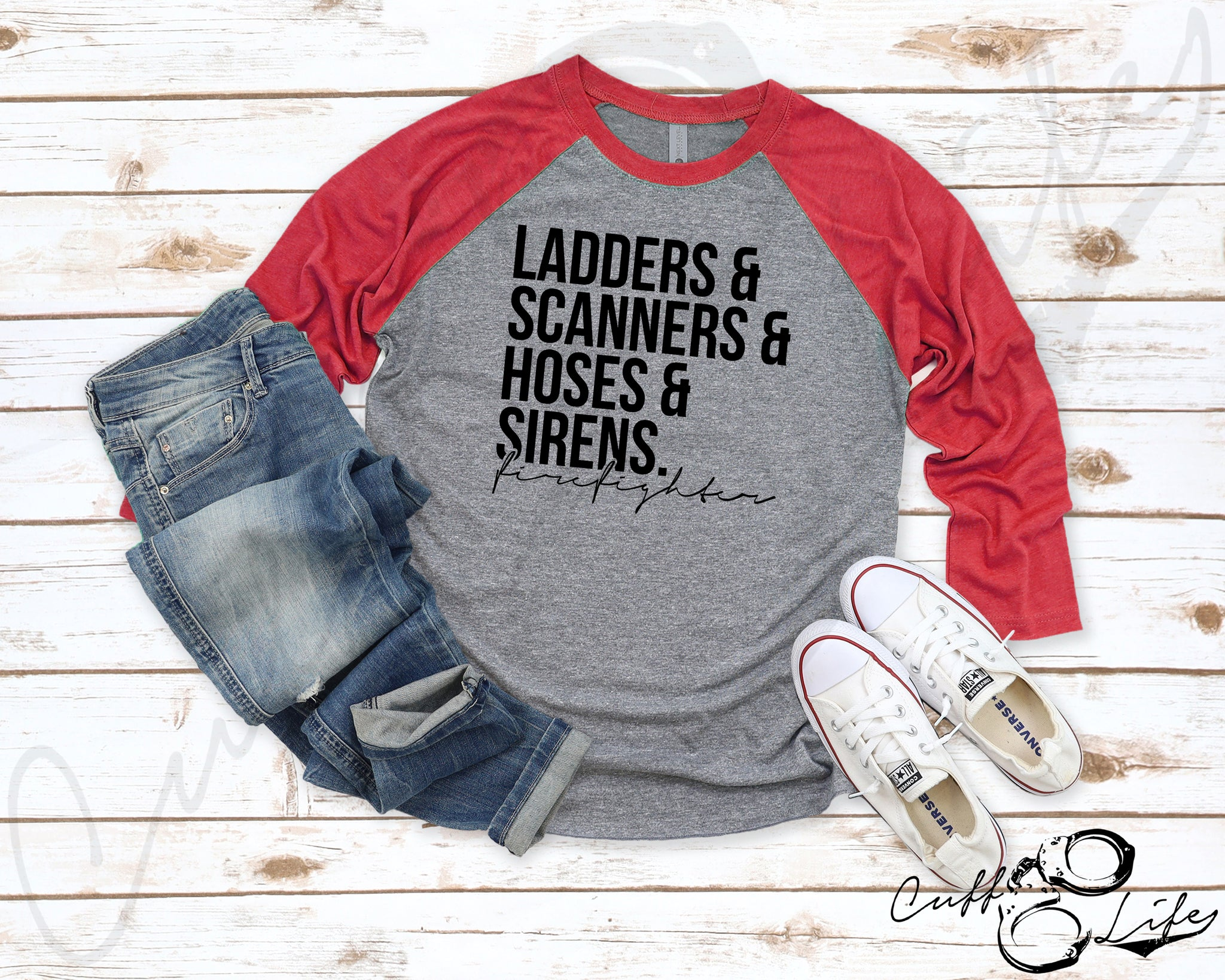 Ladders Scanners Hoses & Sirens - FIREFIGHTER © - 3/4 Sleeve Raglan