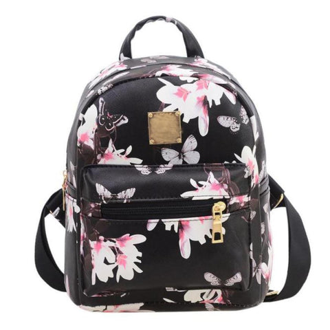 2016 Women Backpack  For Girls 2016 Backpacks Black Fashion Causal Floral Printing Leather Bag