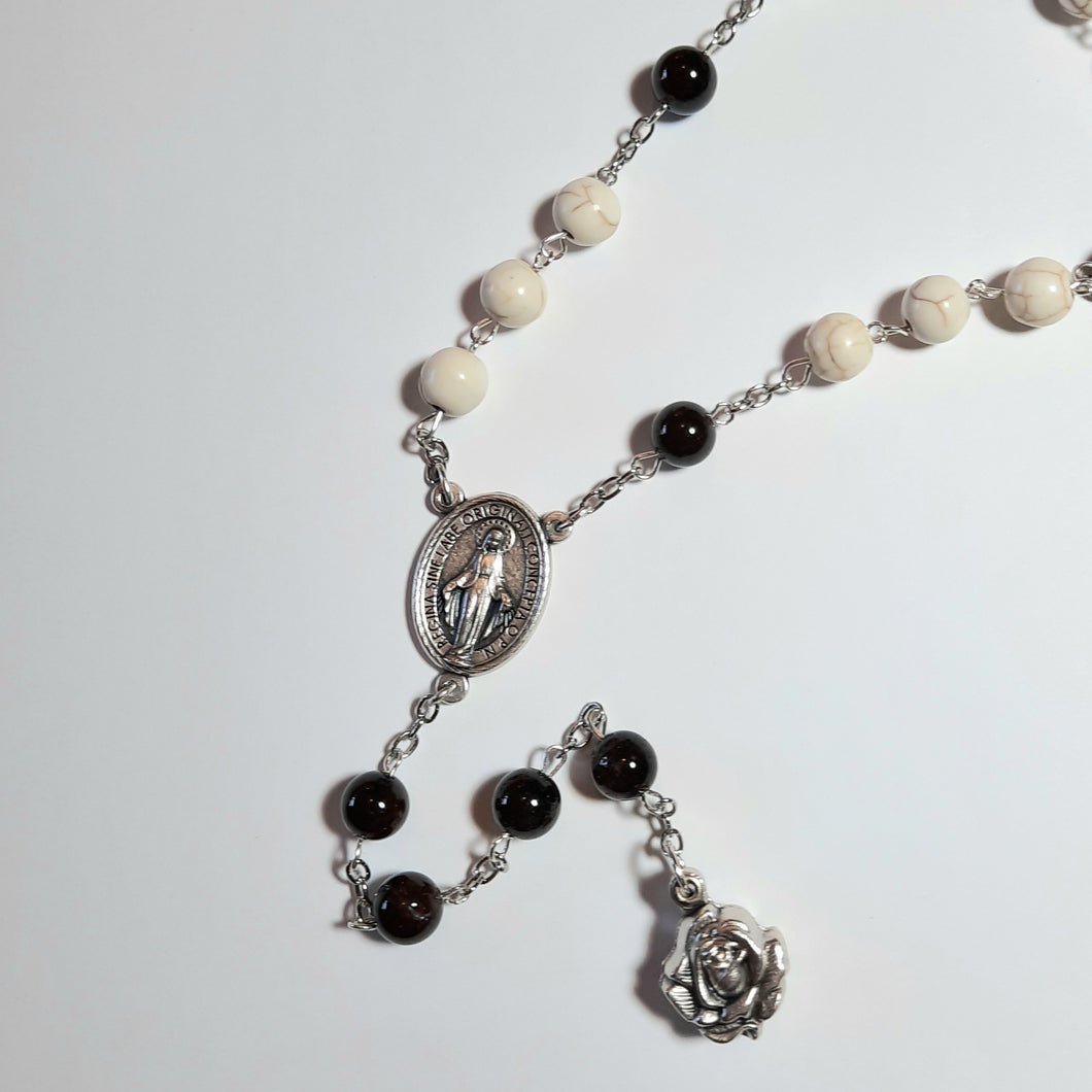 St. Michael Chaplet with Howlite and Garnet beads