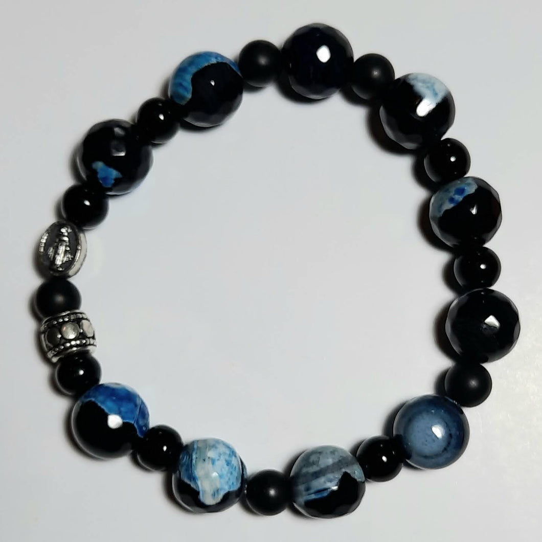 Blue Agate Stretch Rosary Bracelet