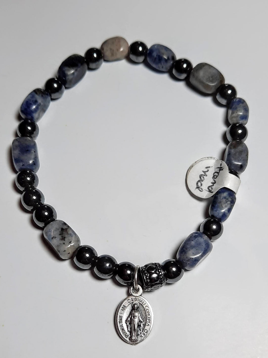 Blue sodalite nugget and hematite stretch Rosary bracelet