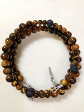 Natural Tiger Eye Rosary Bracelet Wrap with Black Onyx Our Father and St. Benedict Crucifix