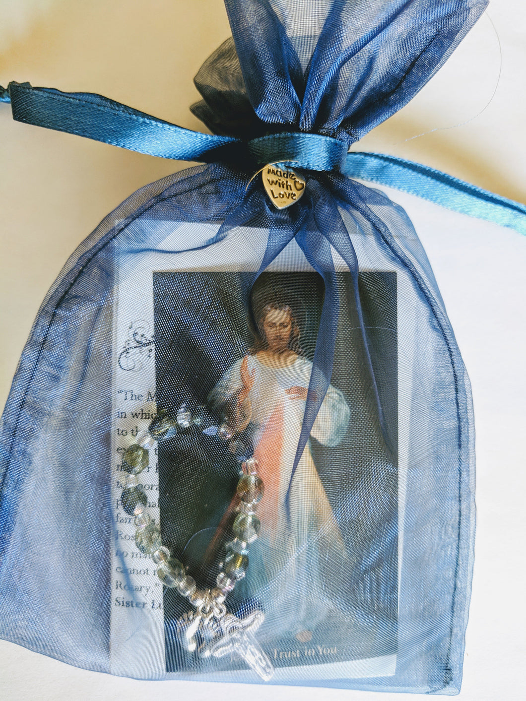 Pro-life Finger Rosary in organza bag with pocket size prayers