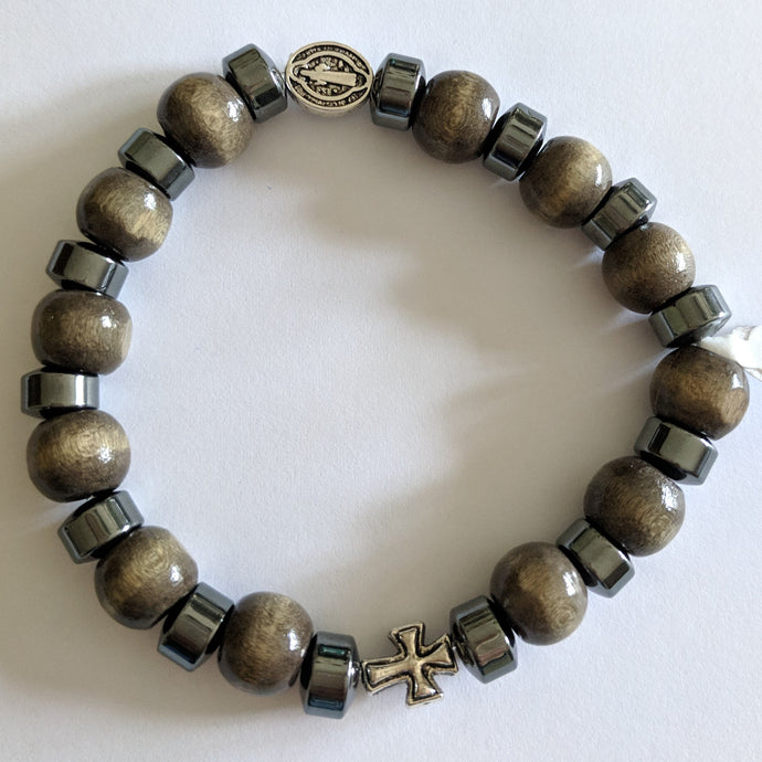 St Benedict stretch bracelet of wood and hematite