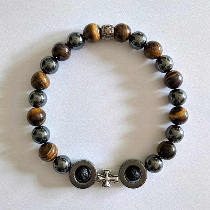 Turn it Around-Tiger Eye and Lava Bead Bracelet