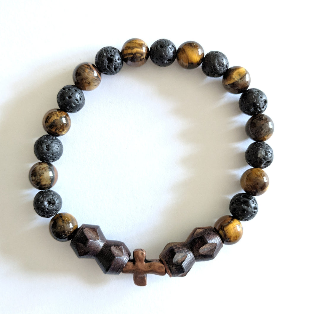 Single decade stretch Rosary bracelet of wood, tiger eye and lava beads