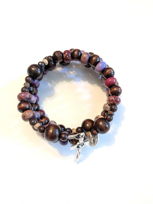 Amethyst and Chocolate Brown Rosary Bracelet Wrap