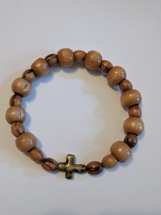 Natural wood and olive wood stretch Rosary bracelet