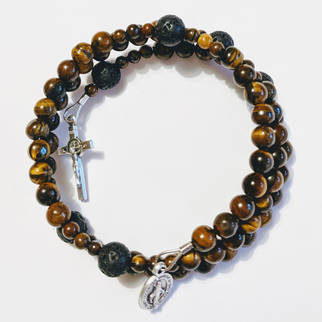 Natural Tiger Eye Rosary Bracelet Wrap with Lava Bead Our Father and St. Benedict Crucifix
