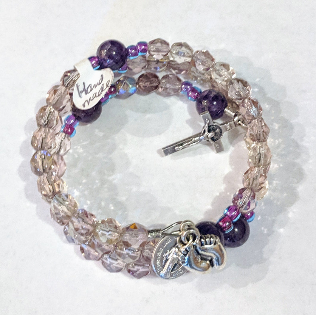 Pale Purple Prolife Rosary Bracelet Wrap