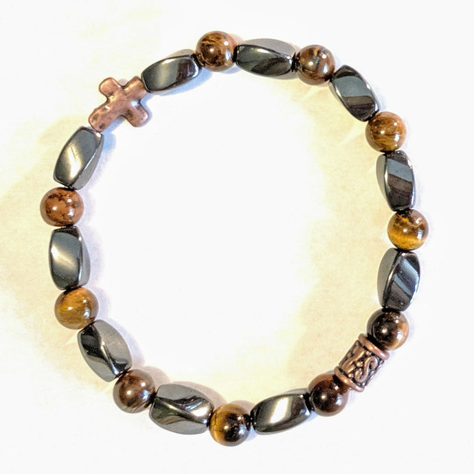 Magnetic Hematite and Tiger eye with copper colored Cross Stretch Rosary bracelet
