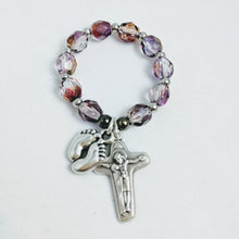 Purple Pro-life Finger Rosary in organza bag with prayers