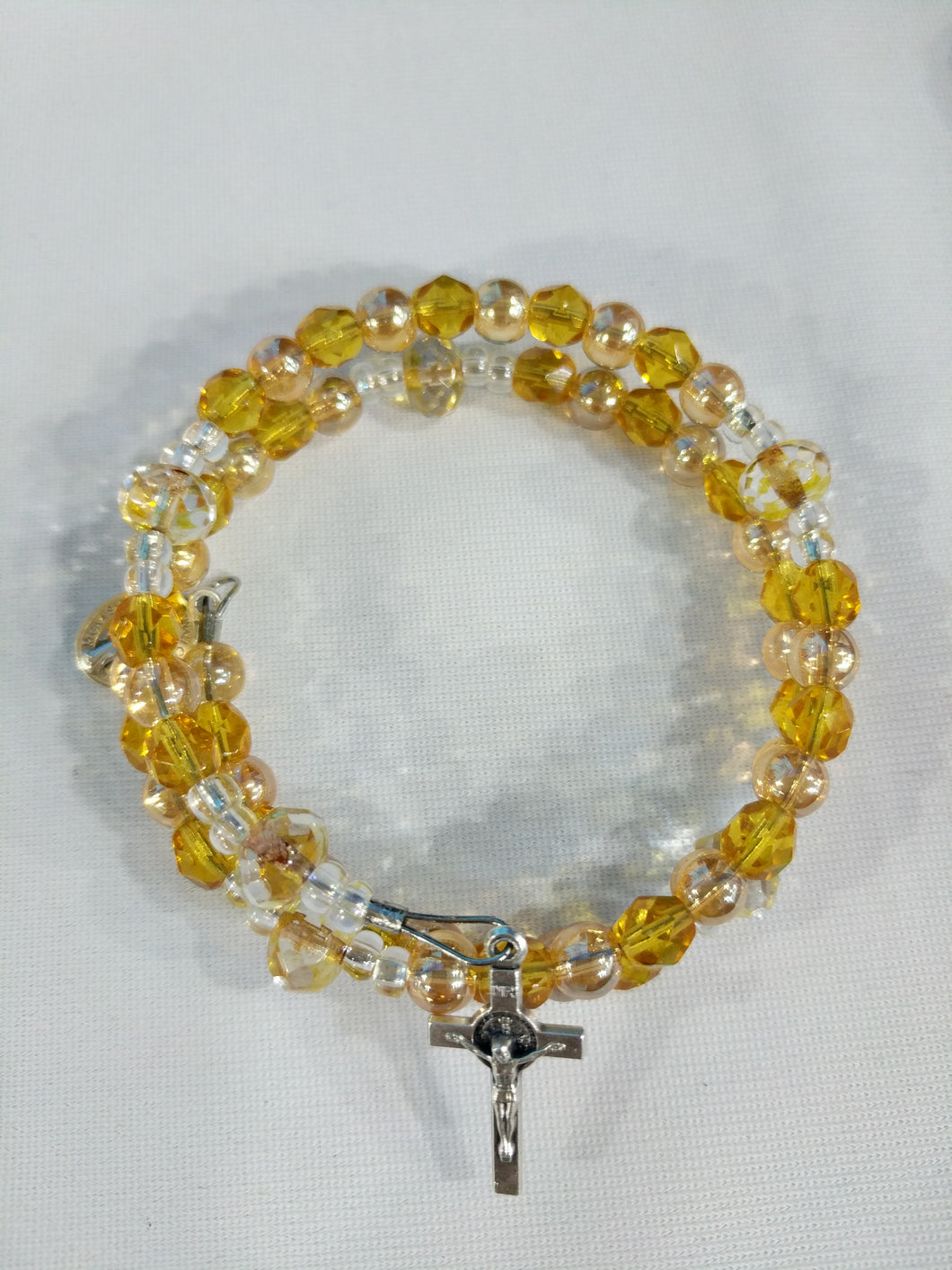 Yellow glass Rosary bracelet wrap