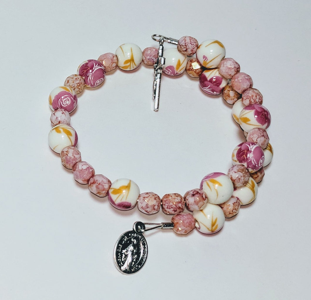 Ceramic Pink Rose Single Decade Rosary Bracelet with St Benedict Crucifix