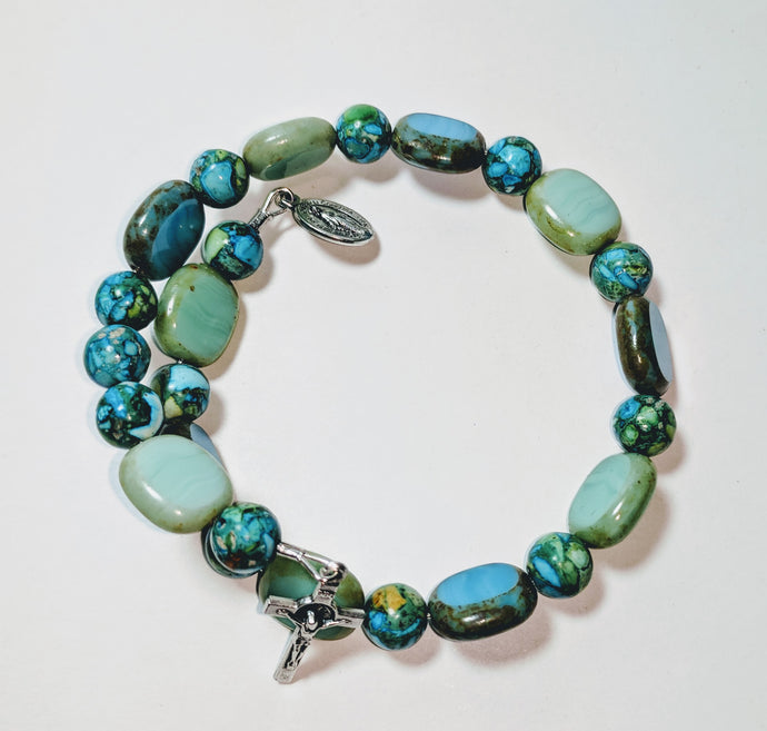 Turquoise Turn It Around Single Decade Rosary Bracelet Wrap