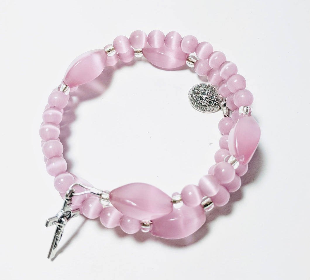 Pink Cat's Eye Rosary Bracelet