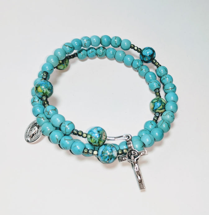 Simply Turquoise Rosary Bracelet Wrap
