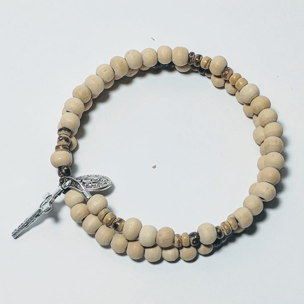 Natural Wood Rosary Braclet Wrap with St. Benedict Crucifix