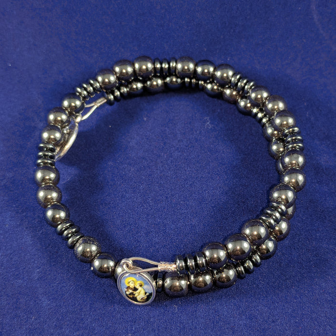 St. Anthony Hematite Chaplet Wrap