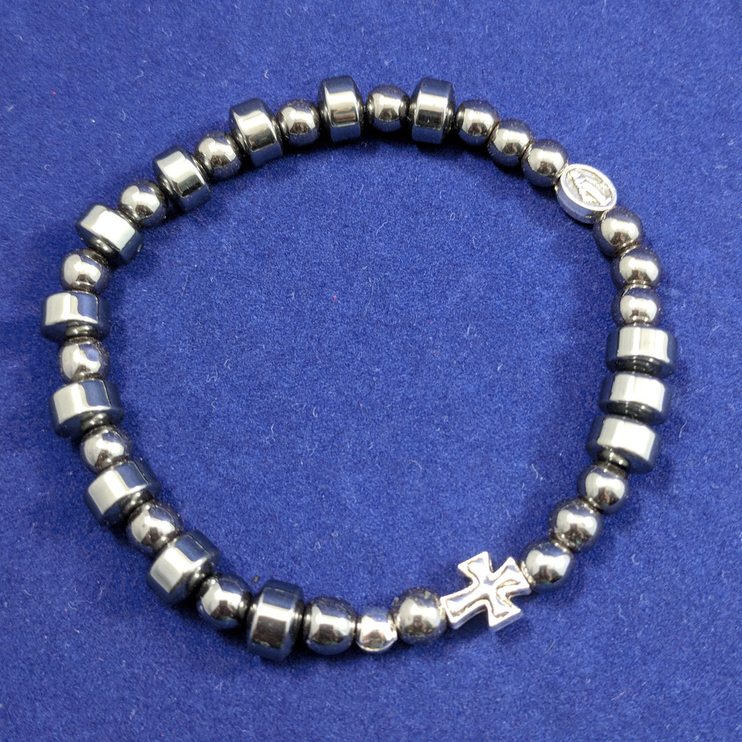 Hematite Stretch single decade Rosary Bracelet