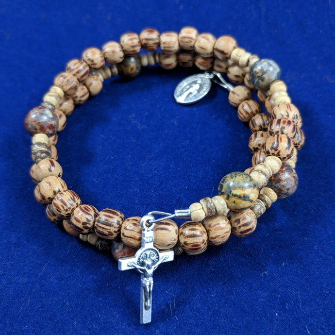 Amber Wood Carved Rosary Bracelet Wrap With Leopard Jasper Stone