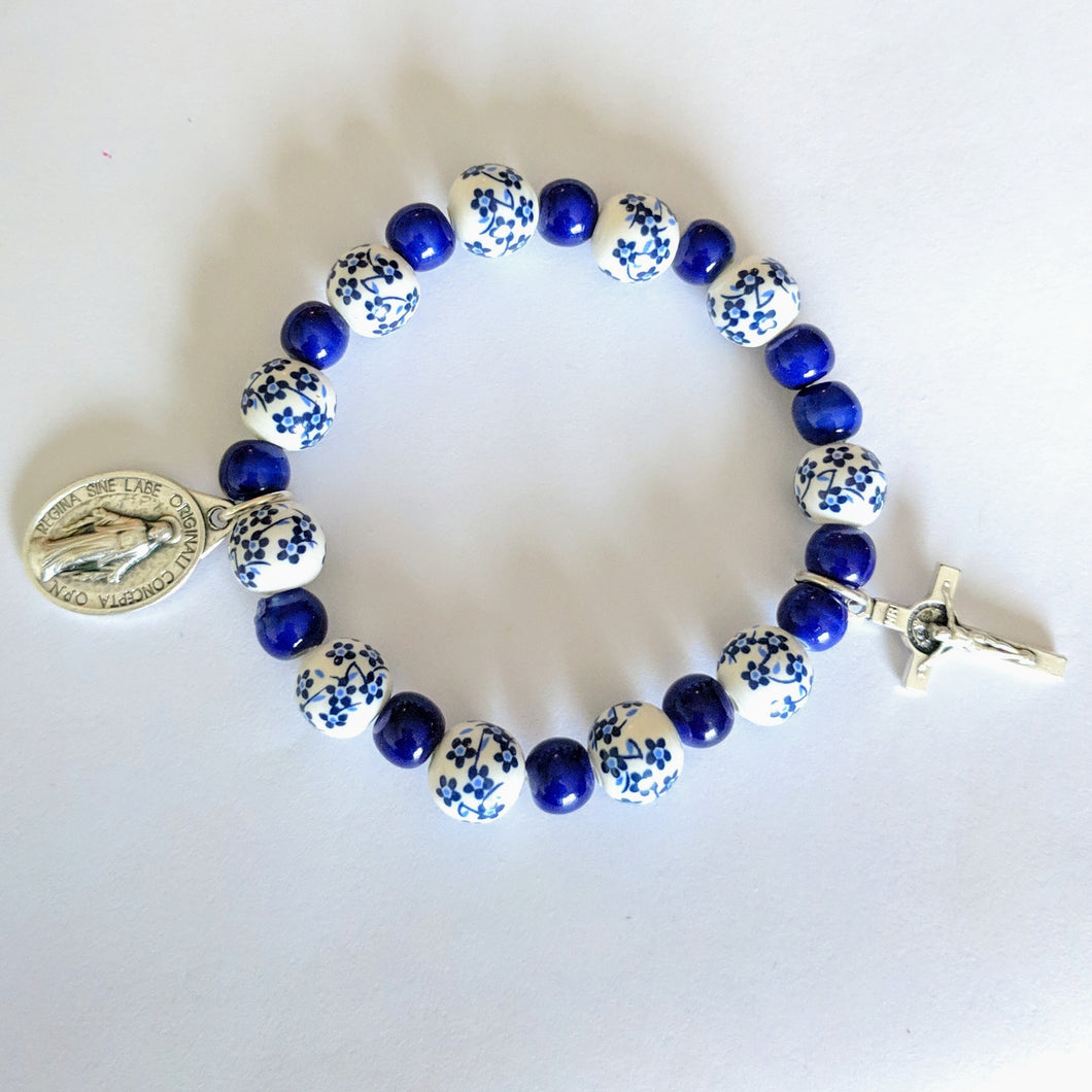 Blue Ceramic Flower custom stretch Rosary