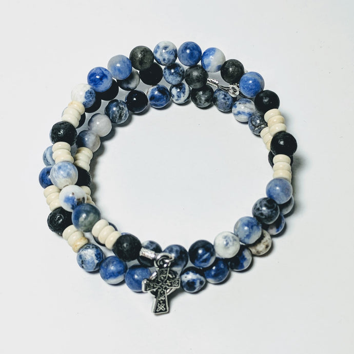 Celtic Ocean of Mercy Rosary Bracelet Wrap with Lava Beads