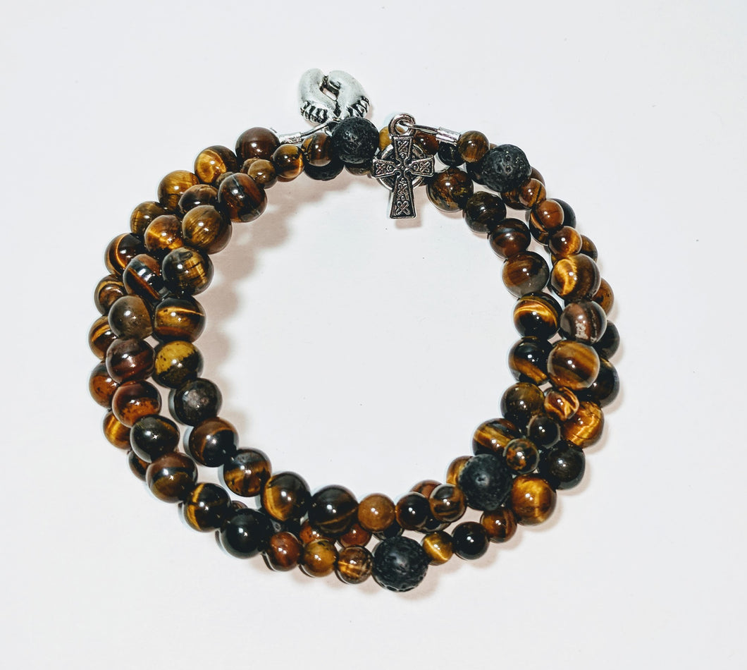 Celtic Tiger Eye Rosary Bracelet Wrap with tiny footprint charm