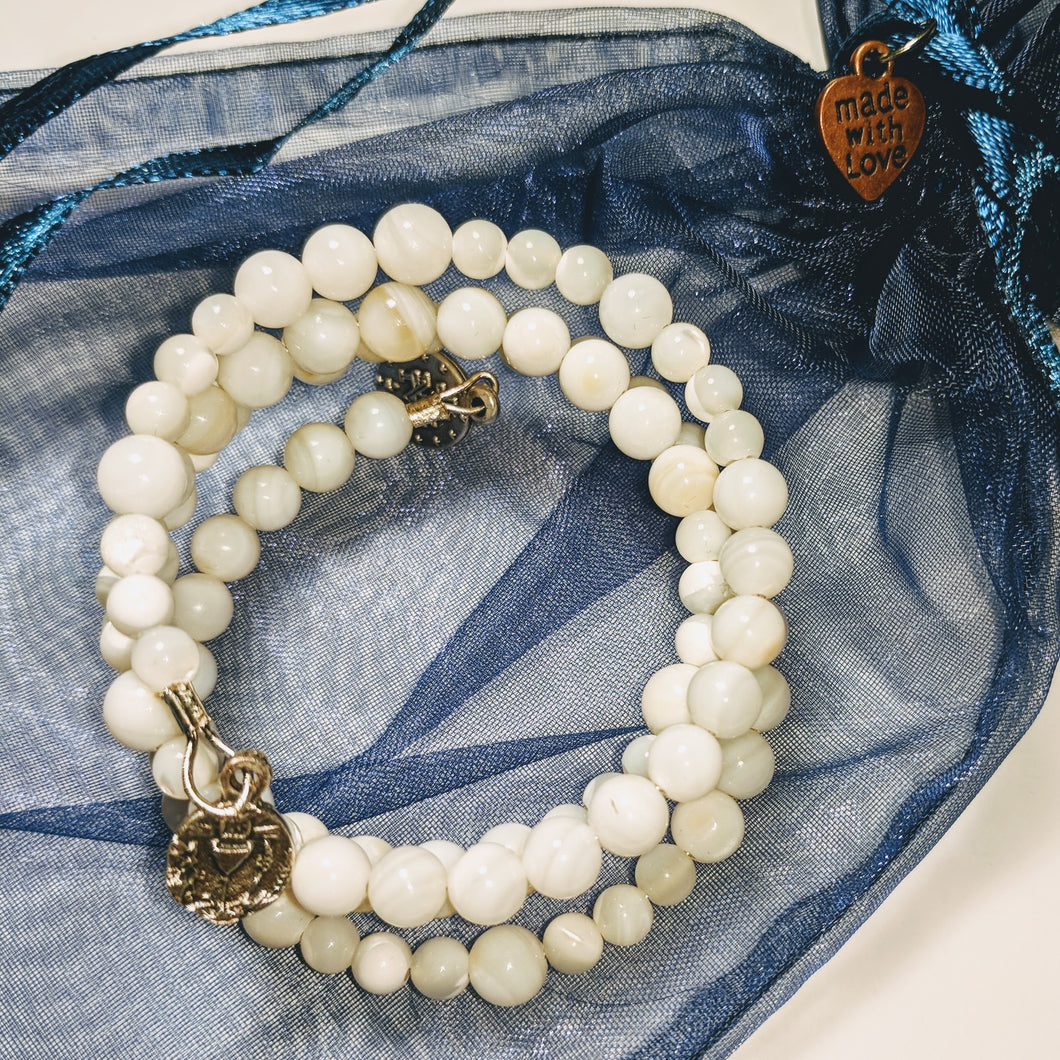 Holy Communion Shell Rosary Bracelet Wrap
