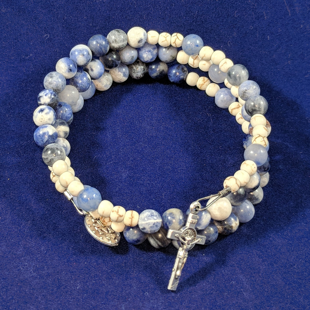 Ocean Of Mercy Rosary Bracelet Wrap with St. Benedict Crucifix