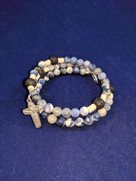 Ocean of Mercy Rosary Bracelet Wrap with Lava Beads and Unity Cross