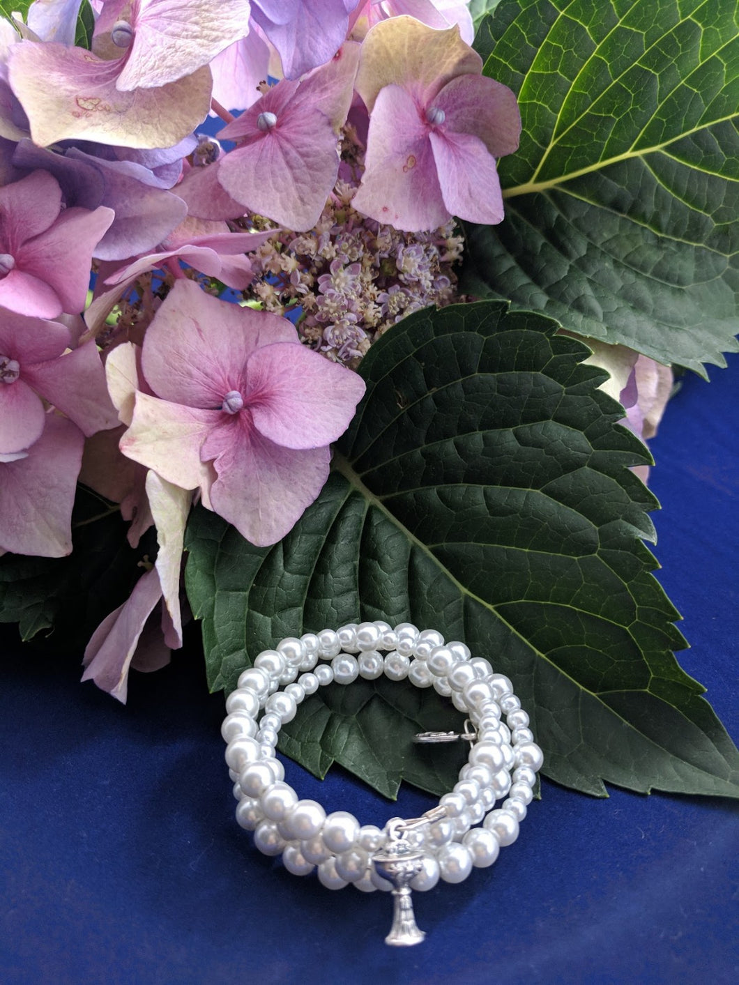 Holy Communion Pearl White Rosary Bracelet Wrap