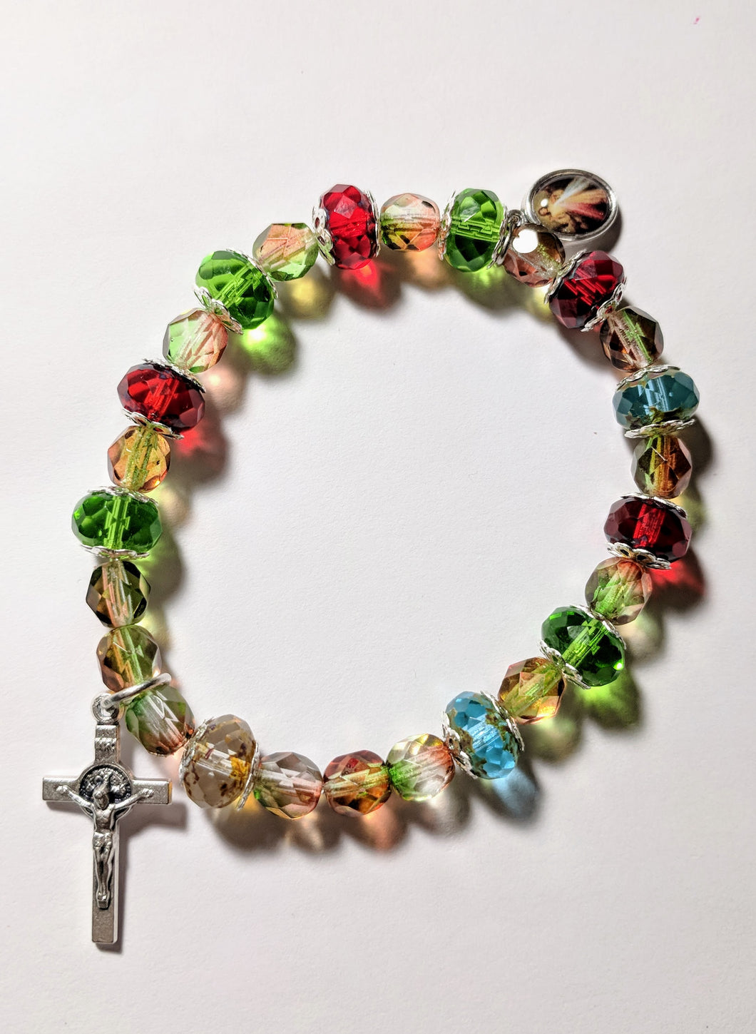 Christmas Bracelet with Divine Mercy and St. Benedict Crucifix
