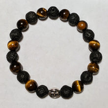 Tiger Eye and Lava Bead Stretch Rosary Bracelet