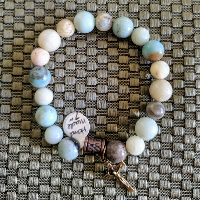 Amazonite single decade stretch Rosary bracelet