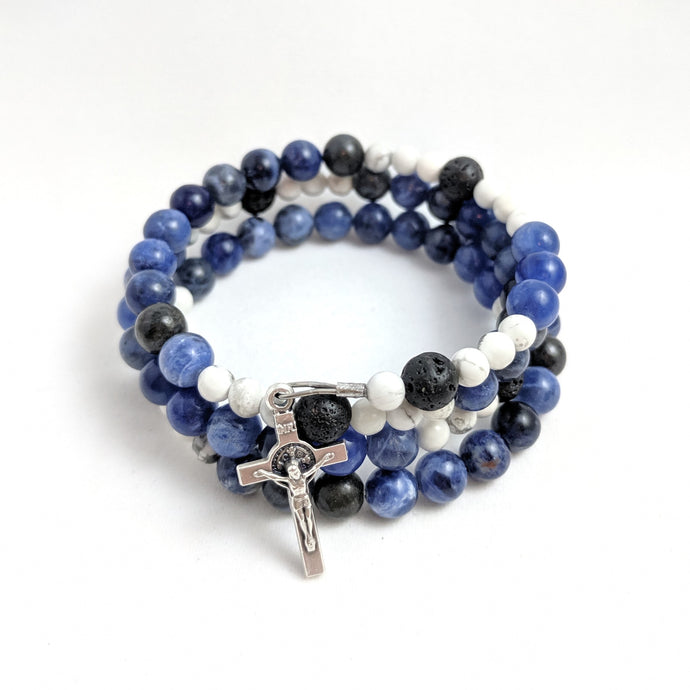 Ocean of Mercy Rosary Bracelet Wrap with Lava Beads and St. Benedict Crucifix
