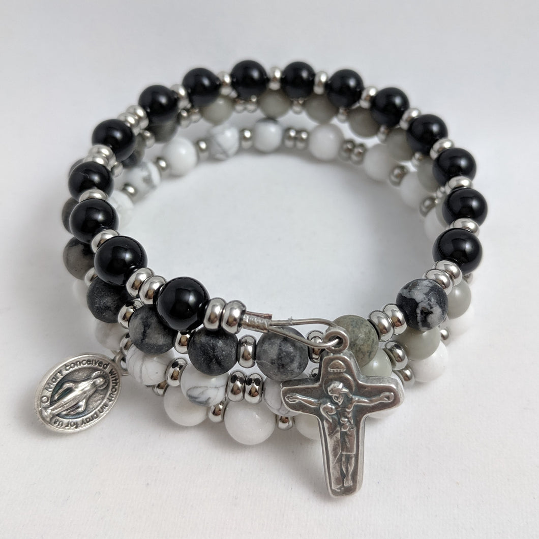Holy Souls Rosary Bracelet Wrap (stainless steel spacers)