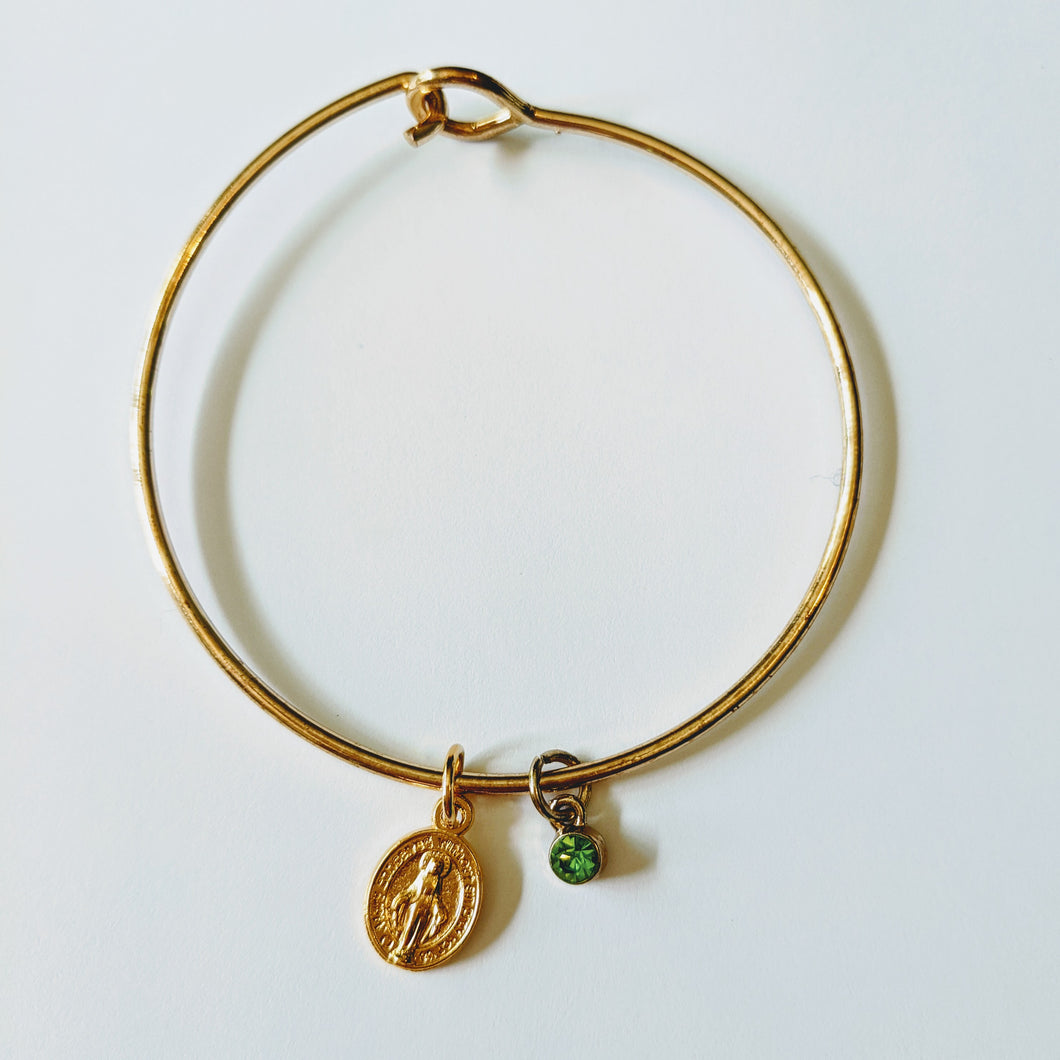 Gold-tone Miraculous Medal Bangle
