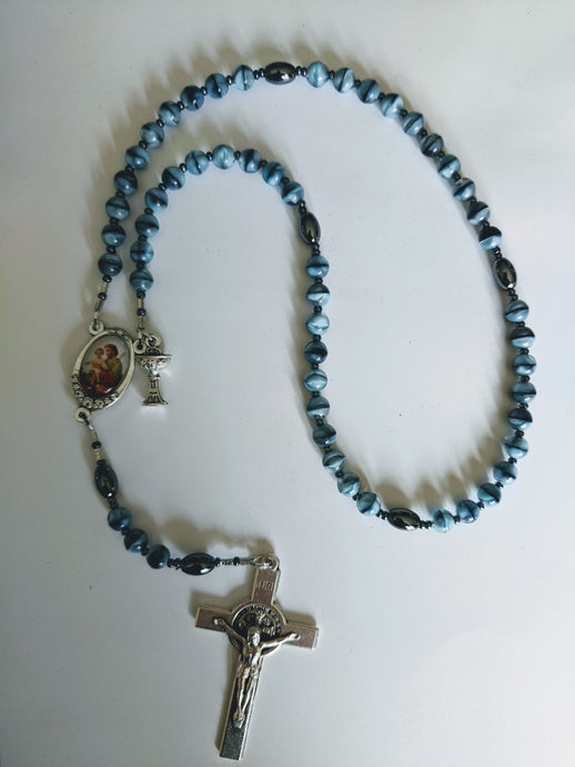 Custom Blue Czech glass Communion Rosary