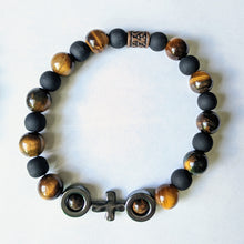 Men's Stretch Rosary with Tiger Eye and Hematite