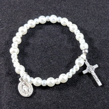 White Pearl Stretch Rosary Bracelet