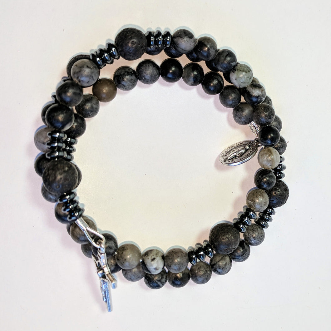 Dark Night full Rosary Bracelet Wrap with lava bead Our Father