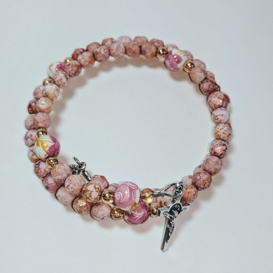 Ceramic Pink Rose Full Rosary Bracelet Wrap