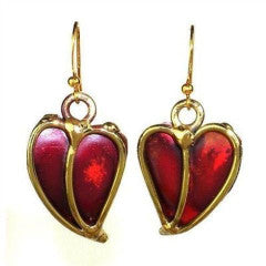 Heart Copper and Brass Earrings handmade