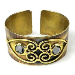 Fair Trade Scrolling Hearts and Gray Crystal Brass Cuff